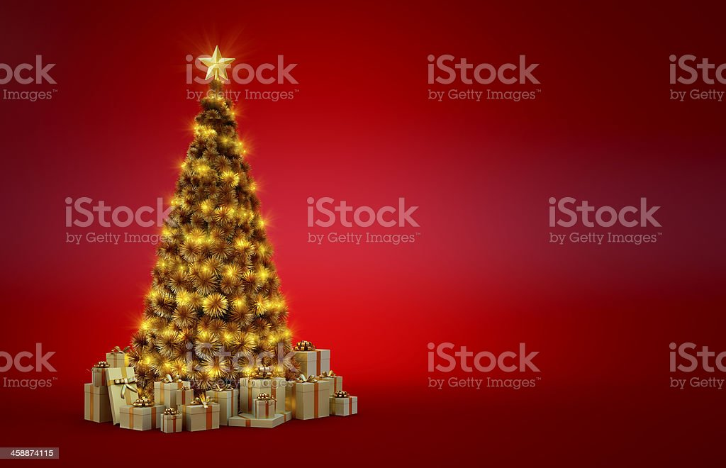 Golden Christmas Tree with lights royalty-free stock photo