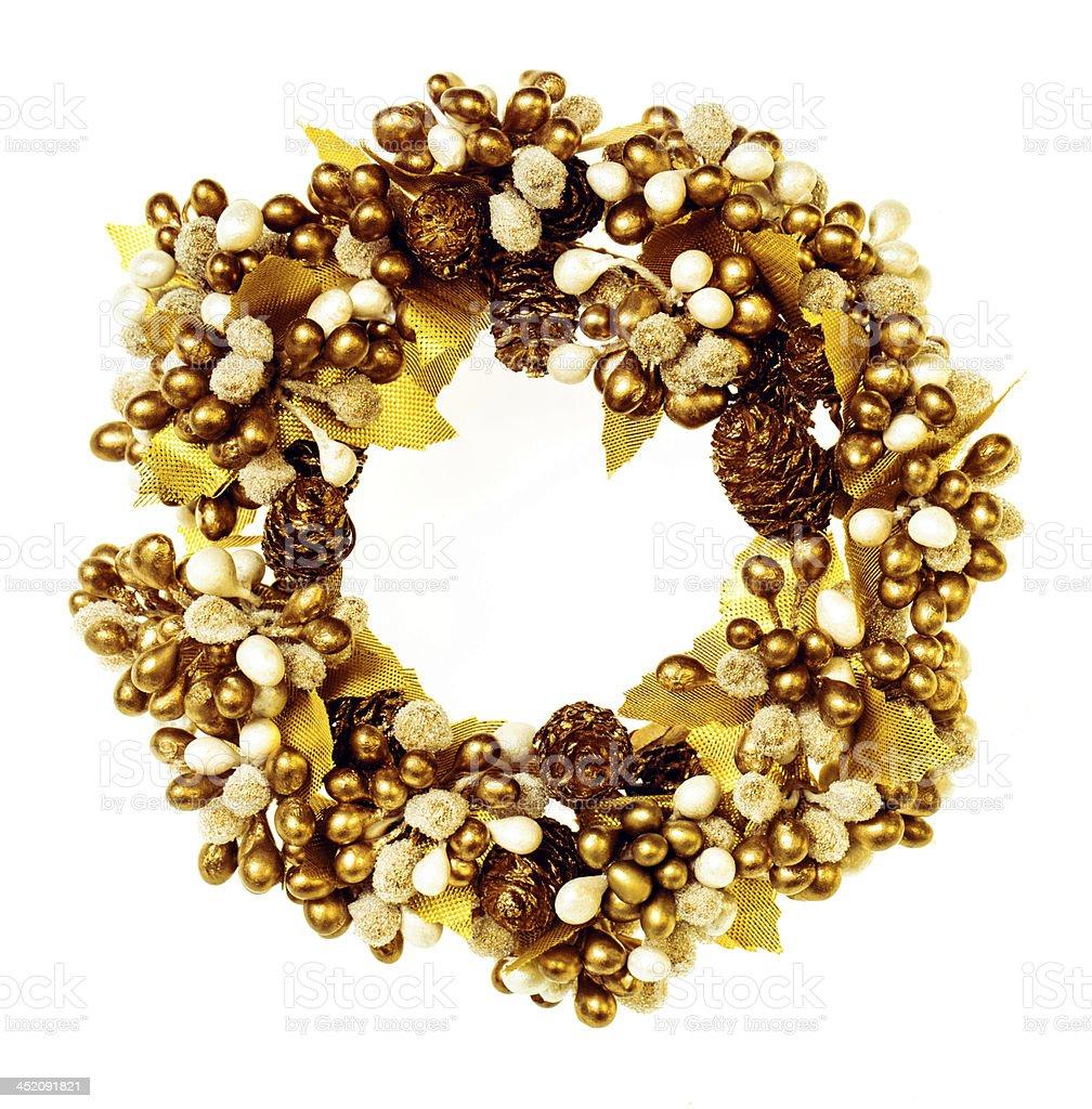 Golden Christmas wreath royalty-free stock photo