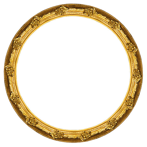 Golden circular frame isolated on white background. stock photo