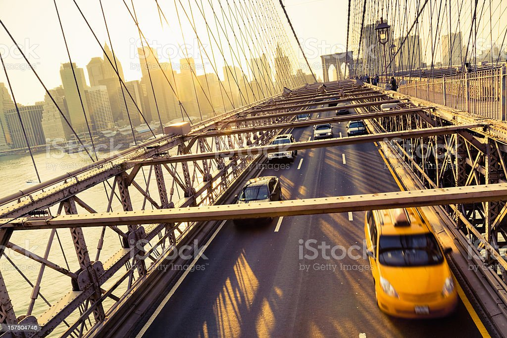 Golden City New York Brooklyn Bridge royalty-free stock photo