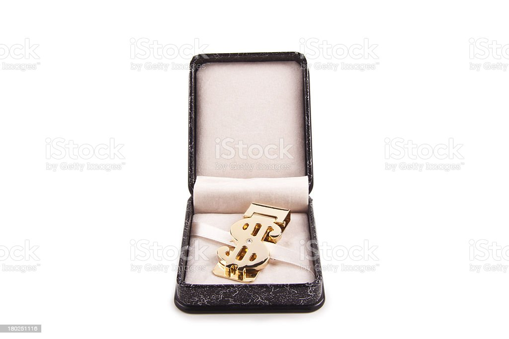 golden clip in box royalty-free stock photo