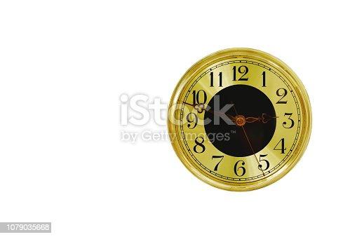 istock golden clock on white background 1079035668