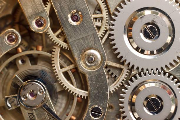 Golden Clockwork. Detail of watch machinery. Old mechanical pocket watch. Macro shot. stock photo