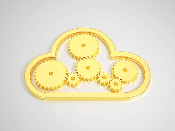 Golden Cloud Computing-Symbol auf leuchtenden Hintergrund – Foto