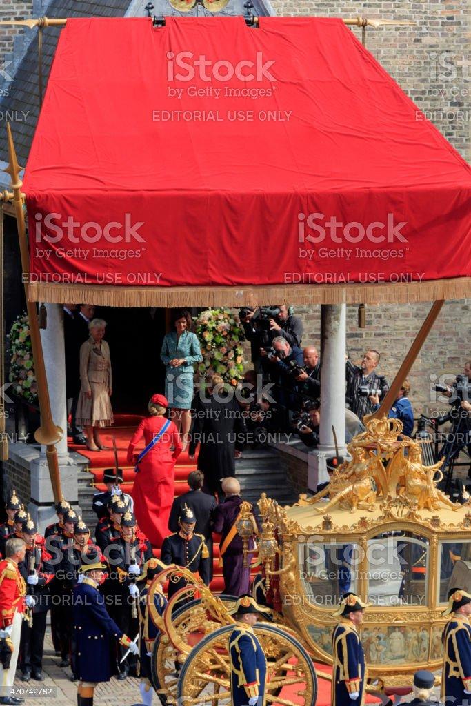 Golden Coach arriving on Binnenhof during Prinsjesdag in The Hague stock photo