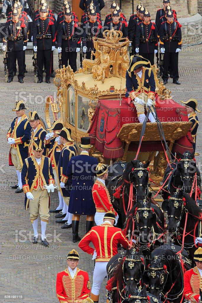 Golden Coach on Binnenhof during Prinsjesdag in The Hague stock photo