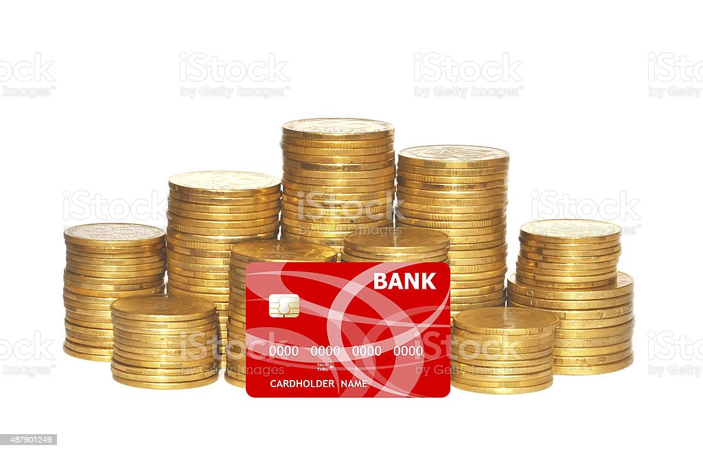 golden coins and red credit card isolated on white stock photo