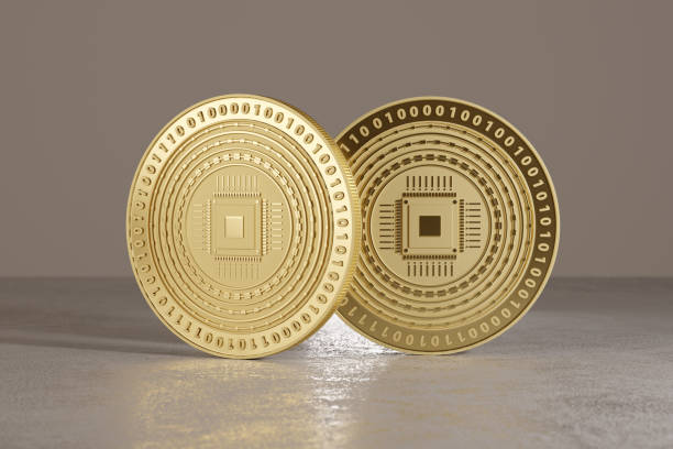 Golden coins as example for bitcoin stock photo