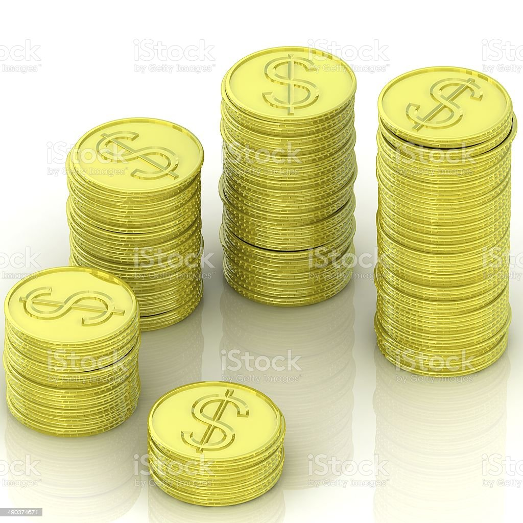 Golden coins isolated on white background stock photo