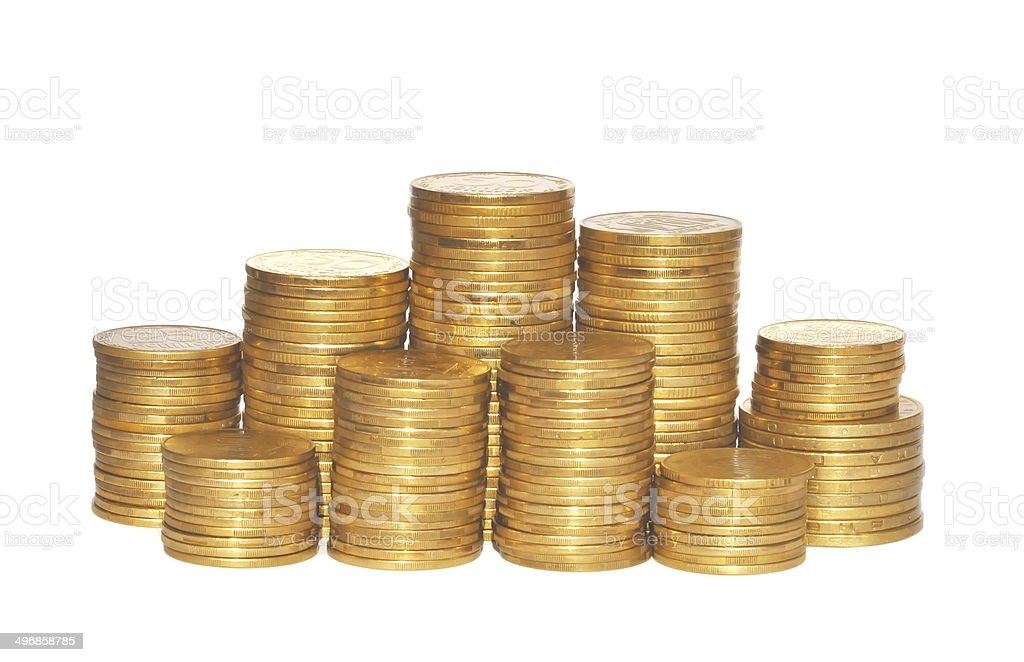 golden coins isolated on white. Ukrainian coins stock photo