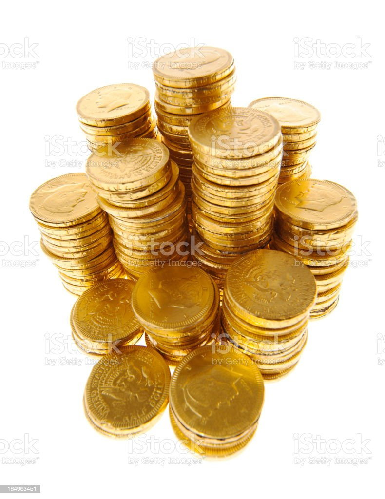 golden coins on white royalty-free stock photo