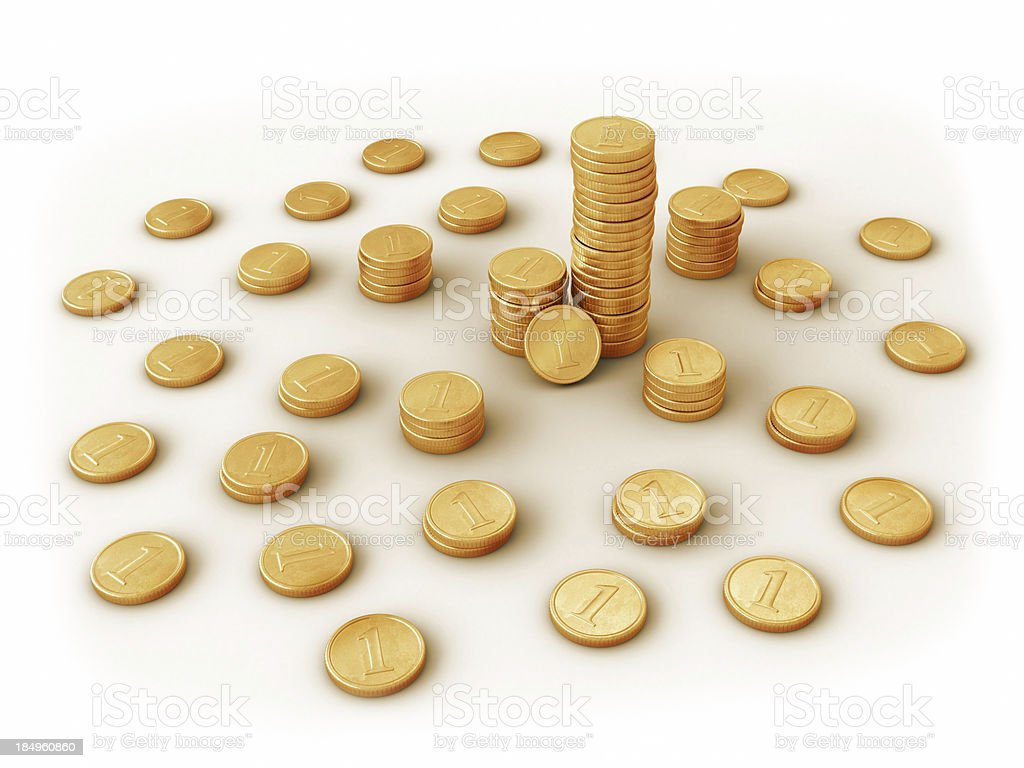 Golden coins. stock photo