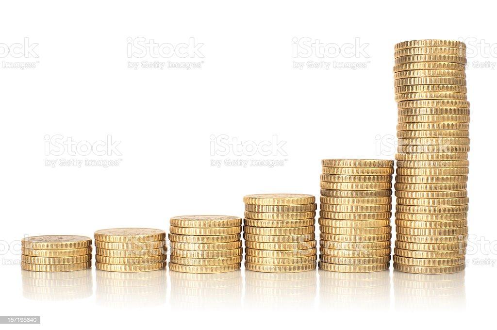 Golden coins raising chart royalty-free stock photo