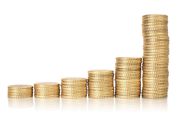 golden coins raising chart - coin stock photos and pictures