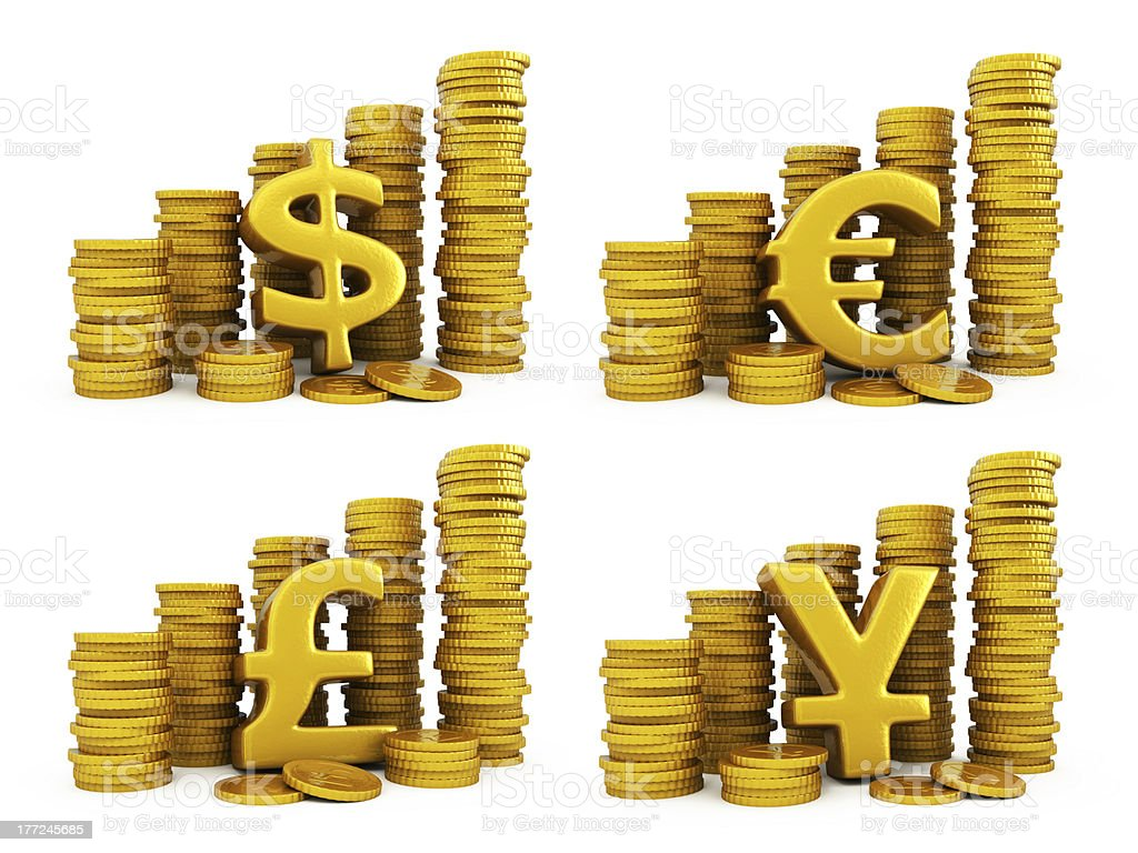 Golden coins set of currencies royalty-free stock photo