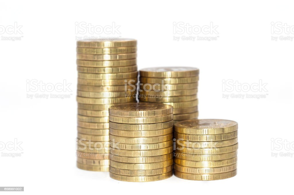 Golden coins stack isolated on white background. royalty-free stock photo