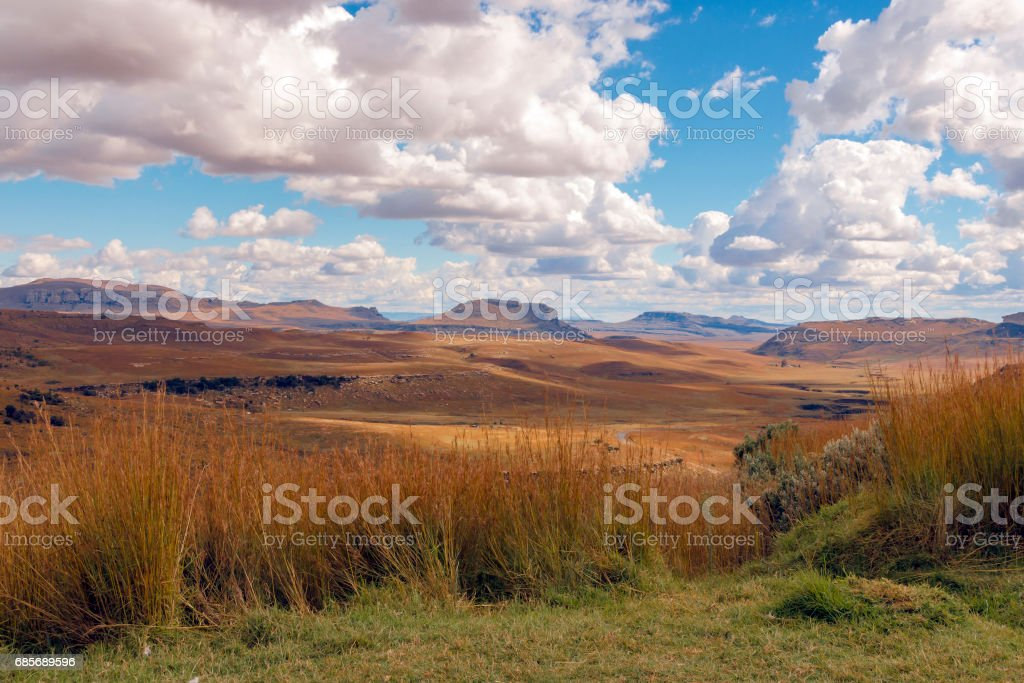 Golden Cold Dry Winter Landscape and Rocky Mountain foto de stock royalty-free