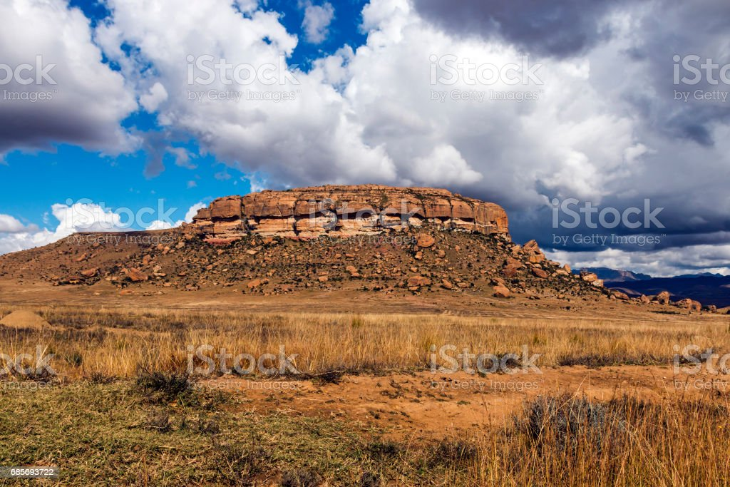 Golden Cold Dry Winter Landscape and Rocky Mountain 免版稅 stock photo