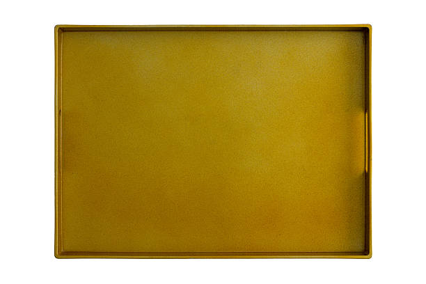 Golden Color Isolated Tray Above View stock photo