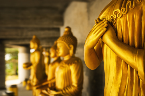 istock golden colored statue of a buddhist monk - close-up of praying hands in front of other statues 1001631730