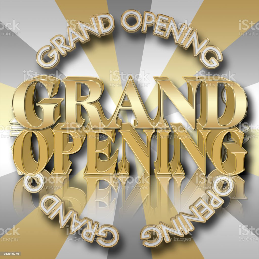 Golden Colored Text: Grand Opening, 3D Illustration, Bright Against the Luxe Background, Announcement Template. stock photo