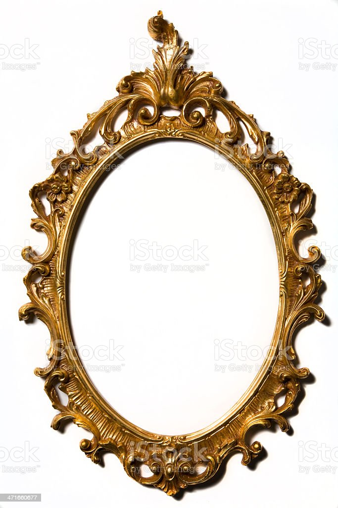 Golden colour vintage wooden frame stock photo