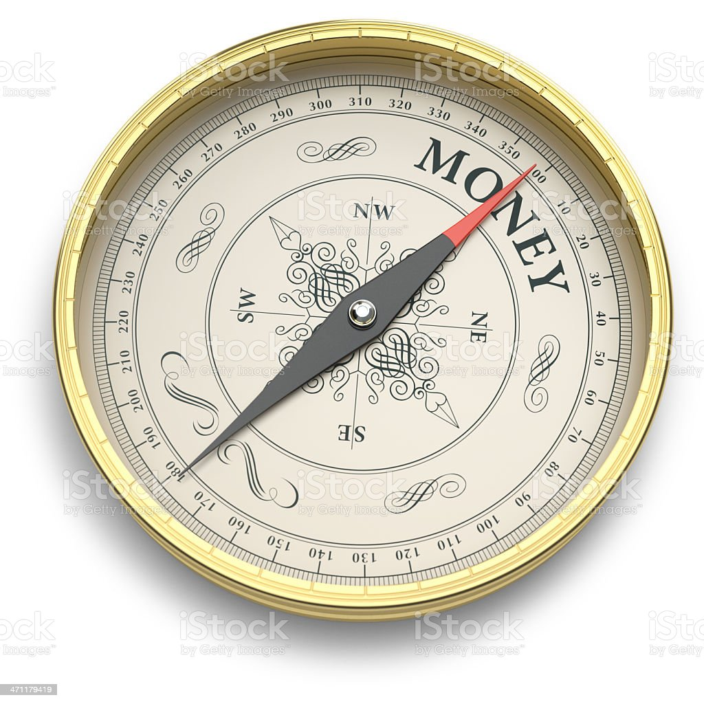 Golden compass pointing to Money royalty-free stock photo