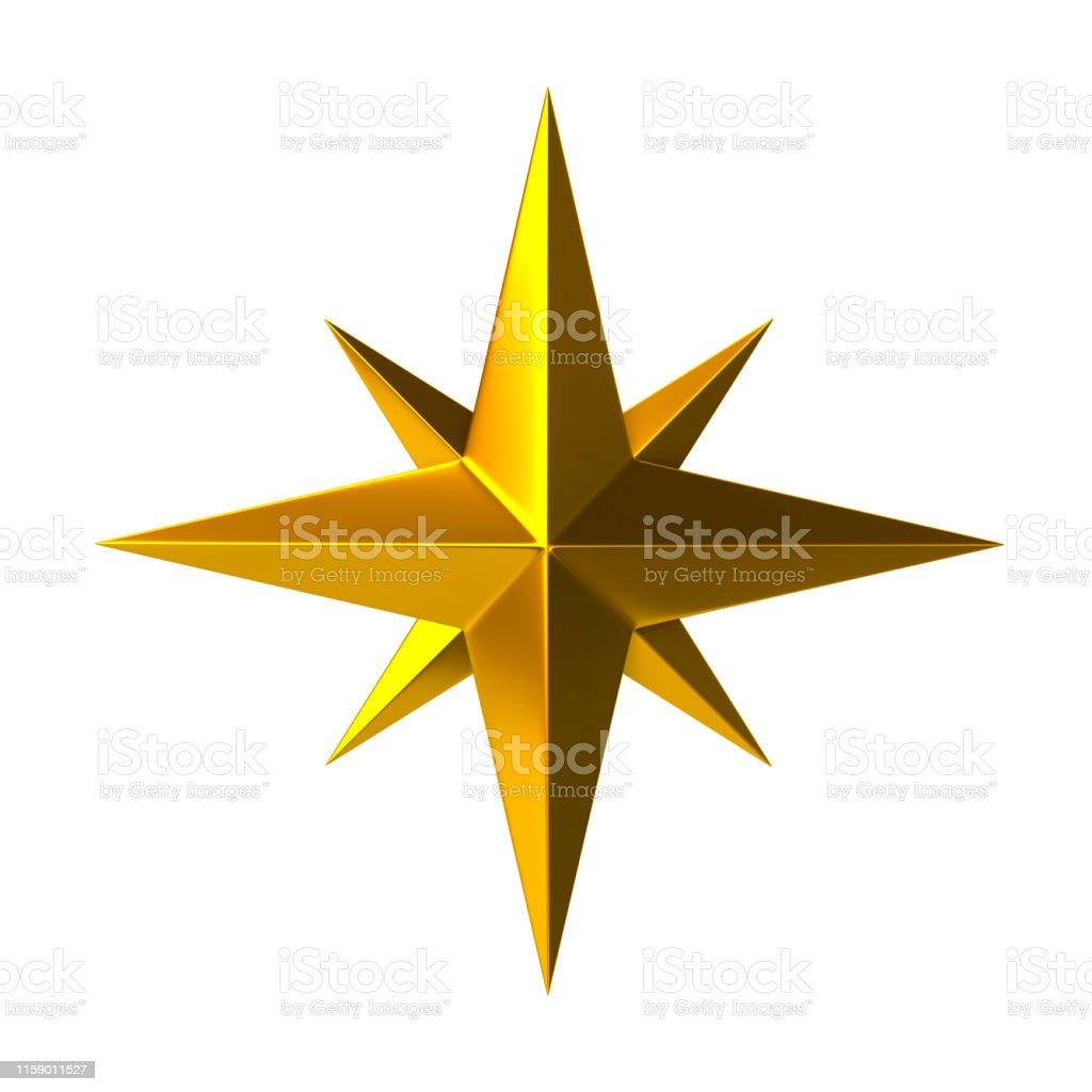 Golden Compass Rose 3d Illustration Stock Photo - Download Image Now - iStock