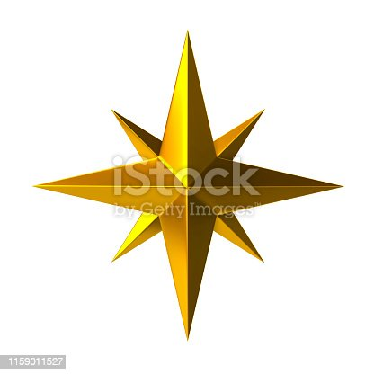 istock Golden compass rose 3d illustration 1159011527