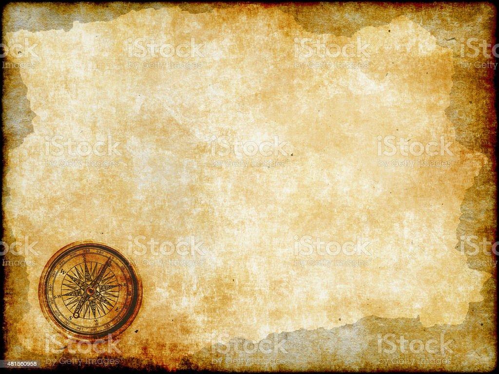 vintage mapa con brújula dorada - foto de stock