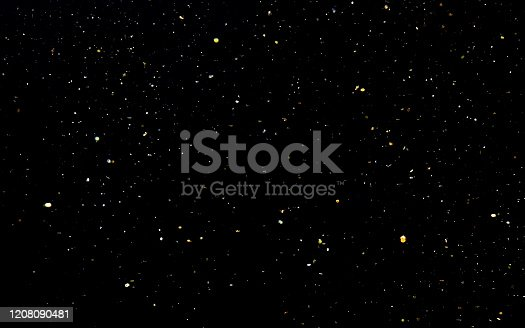 992937254 istock photo Golden confetti. Abstract background with golden shiny sparkling sparkles. 1208090481