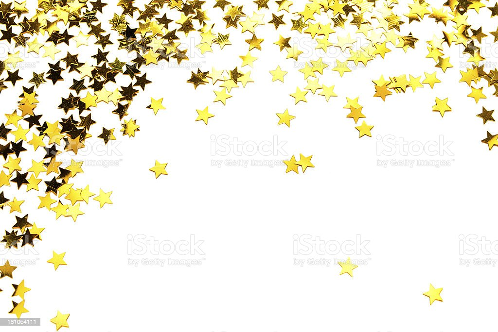 Golden confetti in stars shape, isolated on white stock photo