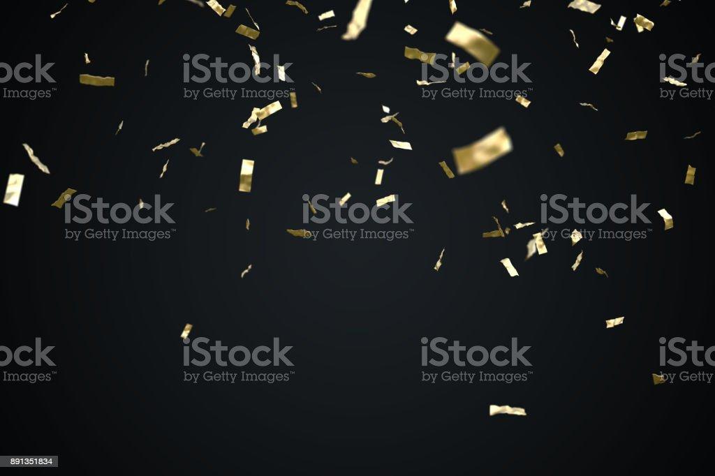 Confeti de oro aislada sobre fondo negro. 3D prestados ilustración. foto de stock libre de derechos