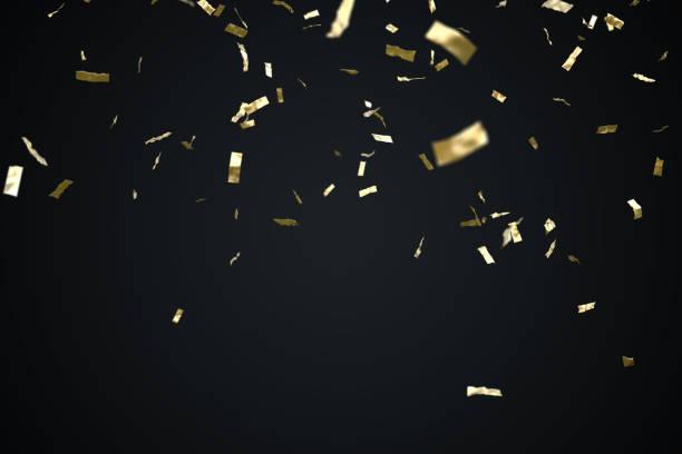 gouden confetti geïsoleerd op zwarte achtergrond. 3d illustratie weergegeven. - confetti stockfoto's en -beelden