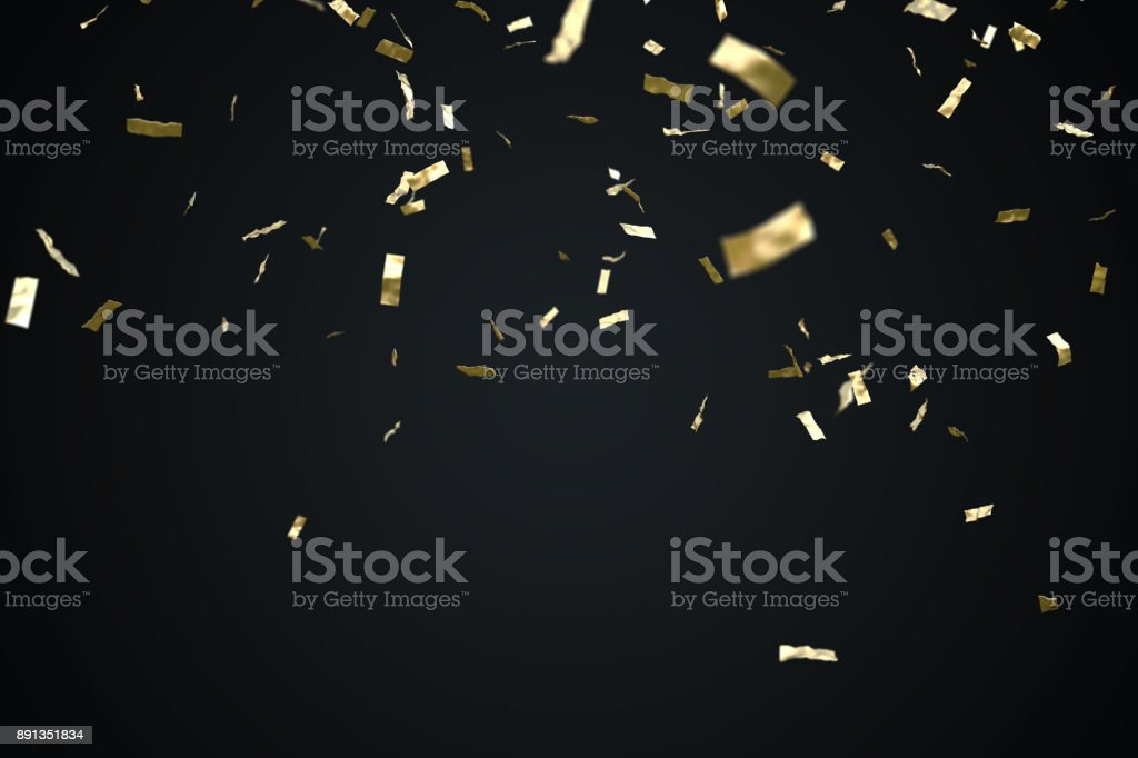 Golden confetti isolated on black background. 3D rendered illustration. stock photo
