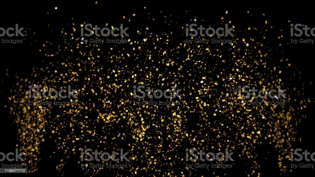 Golden Confetti Party Popper Explosions on a Black and Green Backgrounds. 3d illustration stock photo