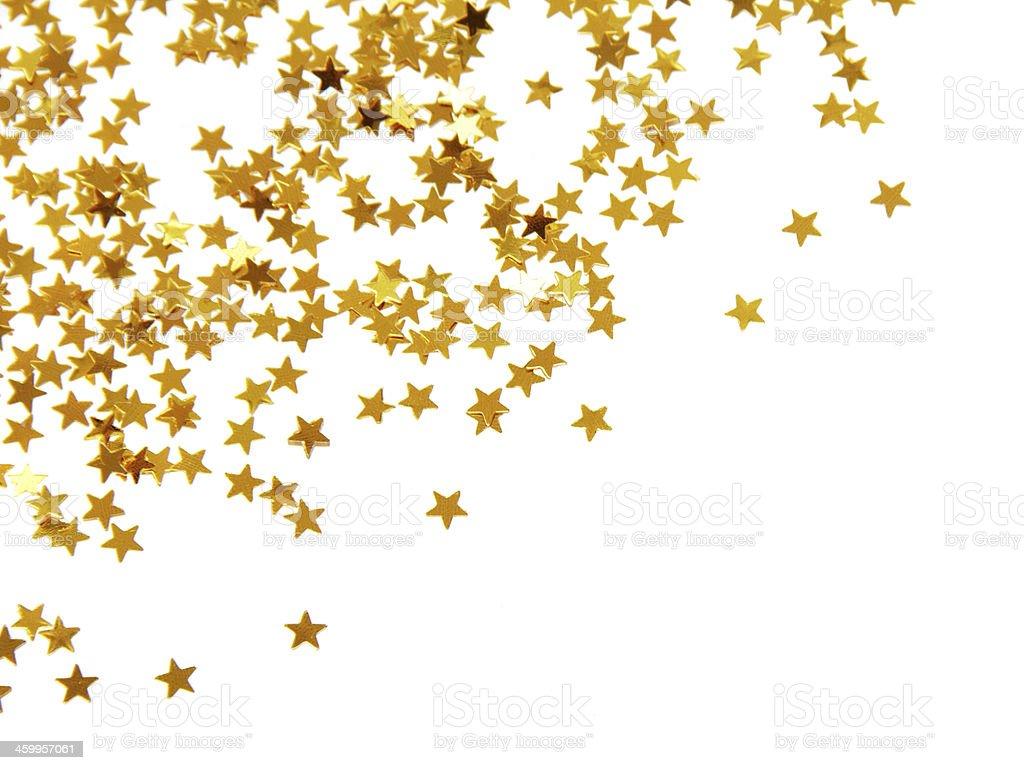 Golden confetti stock photo
