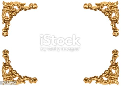 istock Golden corners of carved baroque style picture frame 501126642