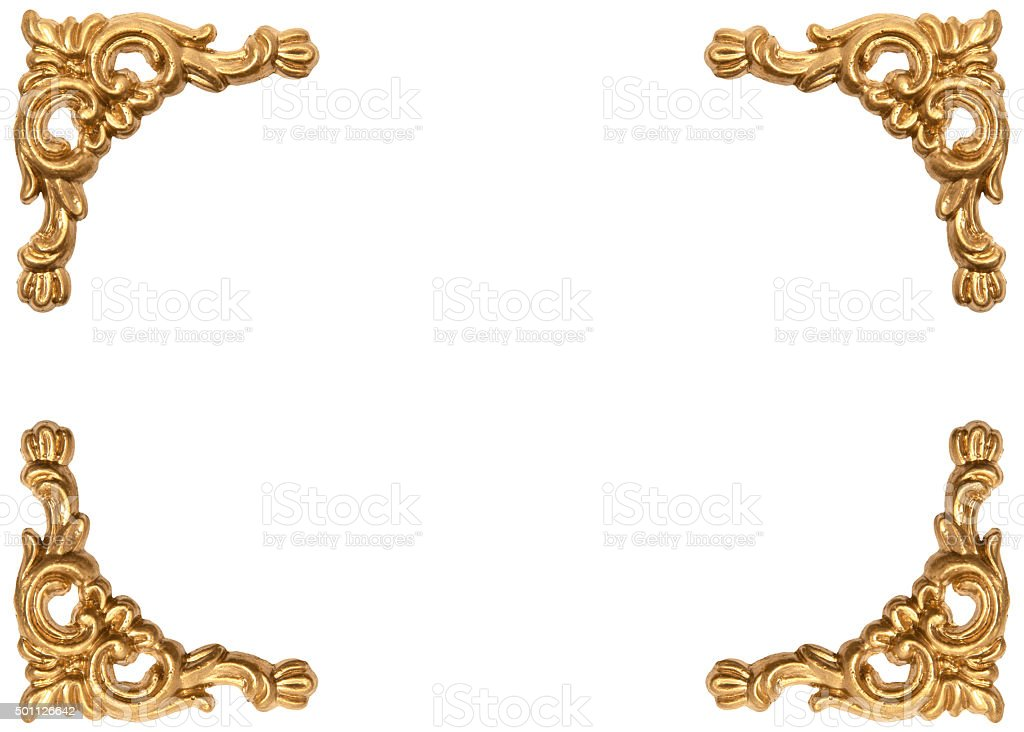 Golden corners of carved baroque style picture frame stock photo