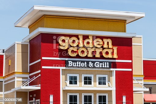 Ft. Wayne - Circa June 2018: Golden Corral Buffet and Grill. Golden Corral serves many free meals to active duty and military veterans II