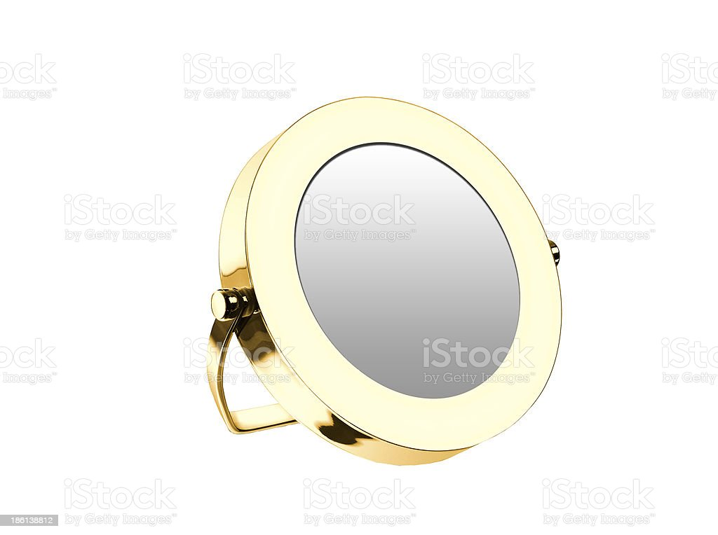 Golden cosmetic mirror isolated royalty-free stock photo