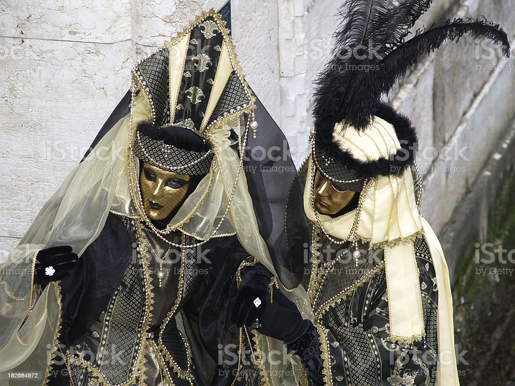 Golden Couple; Carnival in Venice. royalty-free stock photo