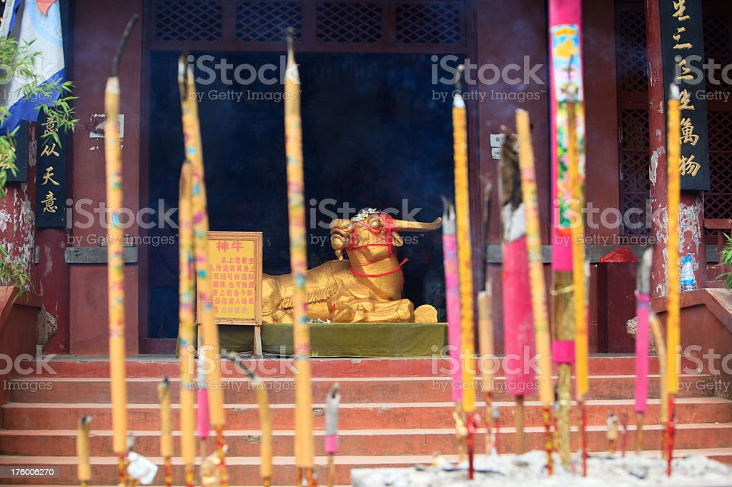 Golden Cow. Buddhist Temple, Kunming, Younnan, China royalty-free stock photo