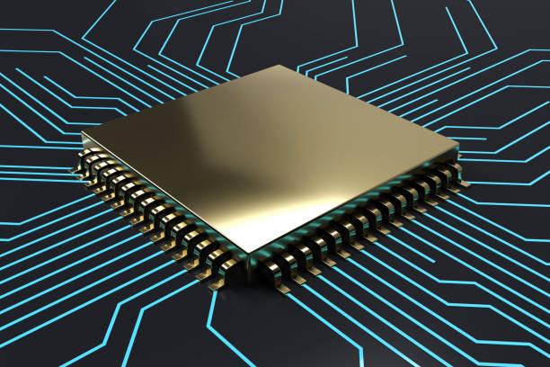 Golden CPU  Computer chip stock photo