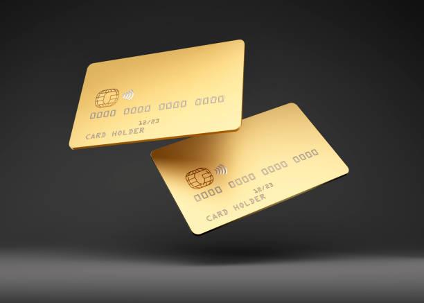 Golden Credit Card Mock up stock photo