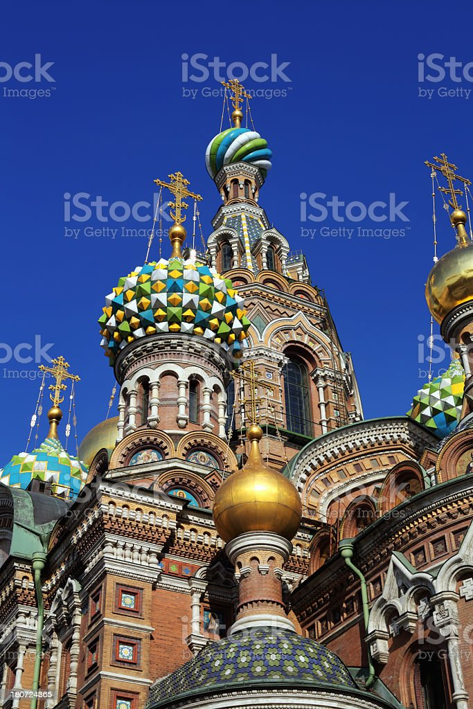 Golden crosses of Orthodox cathedral in Sankt-Petersburg royalty-free stock photo