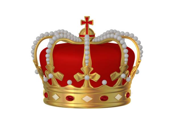 goldene krone verziert mit roten und weißen perlen - 3d illustration - prinzenkrone stock-fotos und bilder