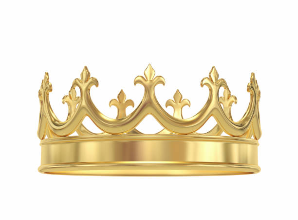 Golden crown isolated on white Golden crown isolated on white. 3D rendering with clipping path crown headwear stock pictures, royalty-free photos & images