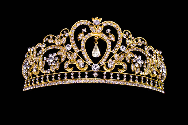 golden crown on a black background golden crown on a black background diademe stock pictures, royalty-free photos & images