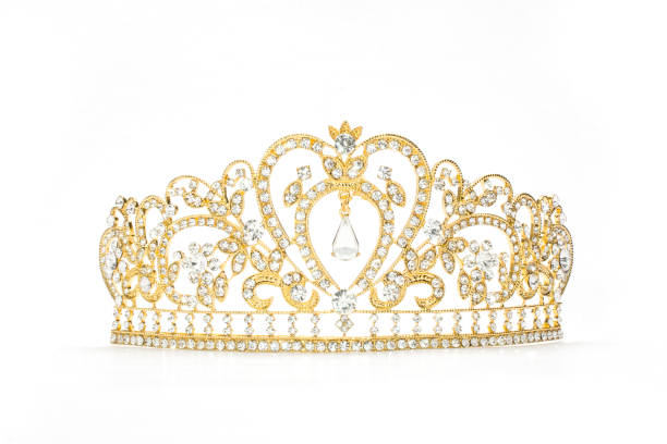 golden crown on a white background - diadem stock pictures, royalty-free photos & images